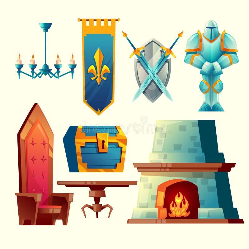 Oggetti interni di vettore per progettazione del gioco di fantasia royalty illustrazione gratis