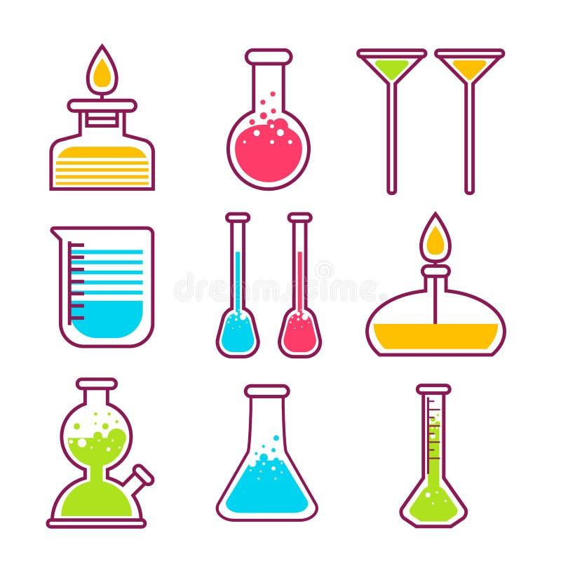 Oggetti isolati chimici dell'attrezzatura di laboratorio di scienza di chimica delle boccette royalty illustrazione gratis