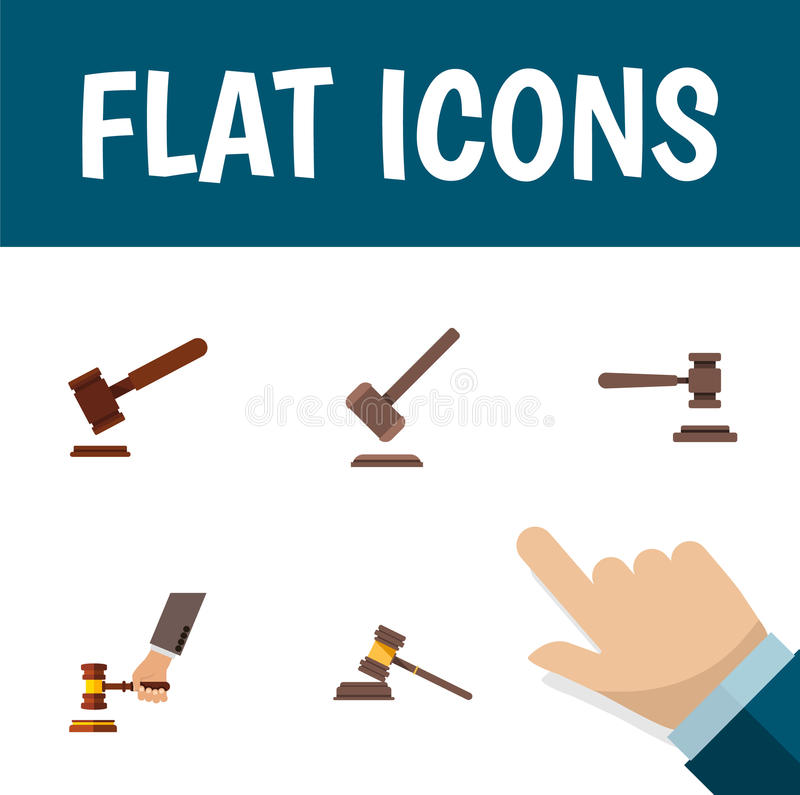 Oggetti legali ed altro piani dell'avvocato Set Of Court, della giustizia, dell'icona di vettore Inoltre include legale, il marte illustrazione di stock