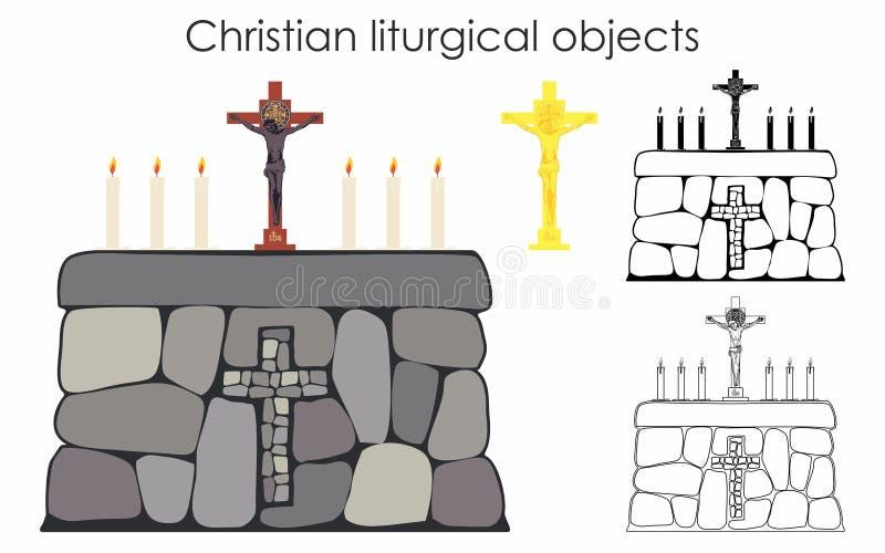 Oggetti liturgici cristiani e tavola di pietra Materiale di riempimento nero Profilo soltanto illustrazione vettoriale