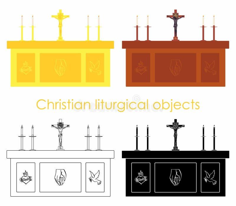 Oggetti liturgici cristiani Oro e legno Materiale di riempimento nero Profilo soltanto illustrazione di stock