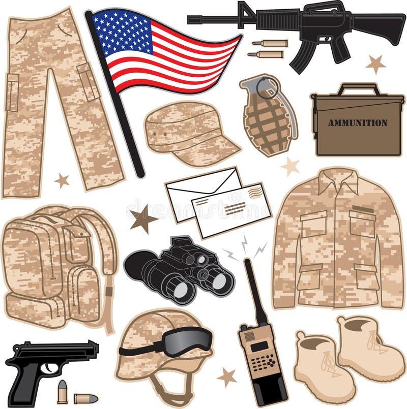 Oggetti militari illustrazione di stock