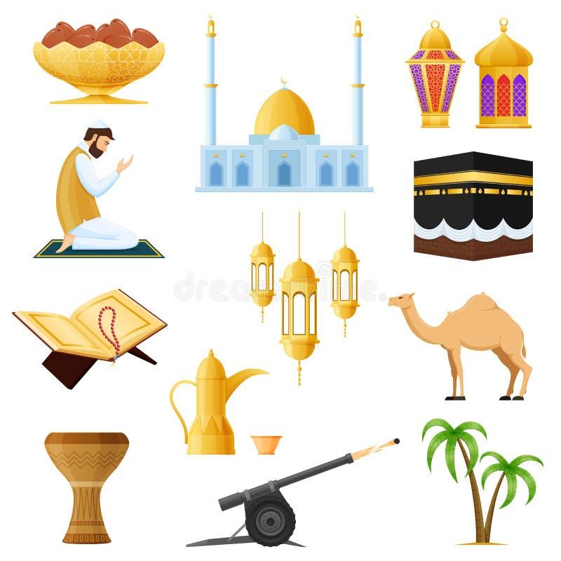 Oggetti musulmani tradizionali stabiliti in Ramadan Kareem Tradizioni, culto, oggetti illustrazione di stock