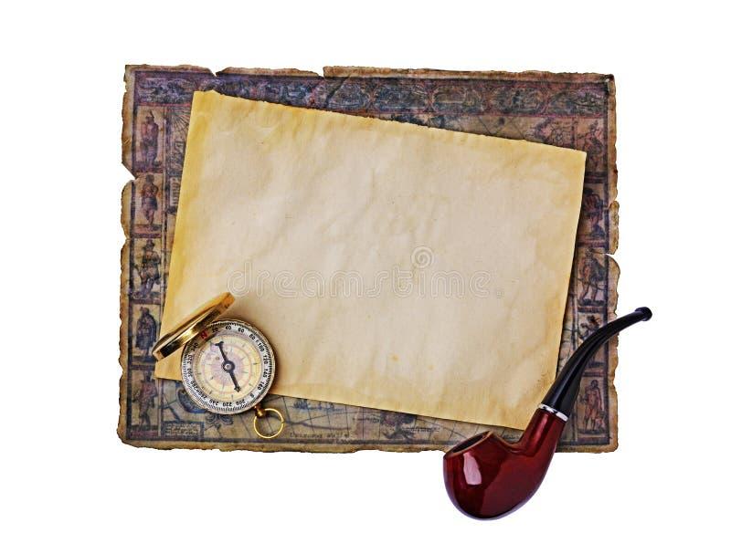 Oggetti nautici: mappa, tubo di fumo e bussola antichi immagini stock