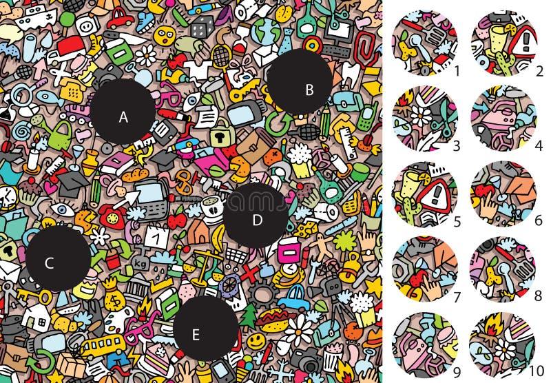Oggetti: Pezzi della partita, gioco visivo Soluzione nello strato nascosto! illustrazione di stock