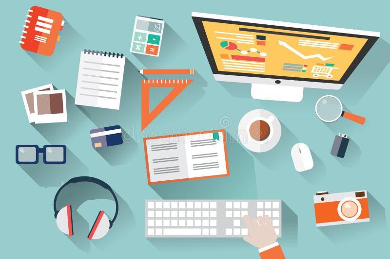 Oggetti piani di progettazione, scrittorio del lavoro, ombra lunga, scrivania, comput illustrazione di stock