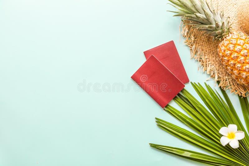 Oggetti posti piani di viaggio: ananas fresco, due passaporti, cappello, plumeria tropicale del fiore e foglia di palma Posto per immagini stock