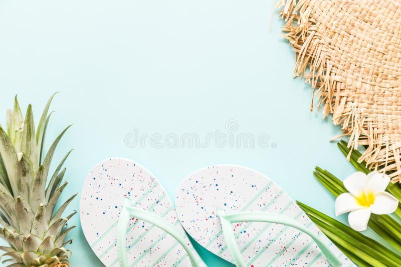 Oggetti posti piani di viaggio: ananas fresco, pantofole della spiaggia, fiore tropicale e foglia di palma Posto per testo Vista  fotografia stock libera da diritti