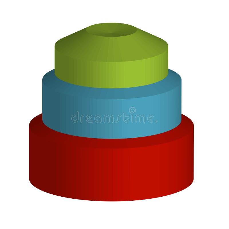 Oggetti variopinti 3d per uso come logo illustrazione di stock