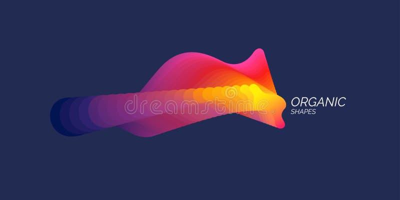 Oggetto astratto luminoso con le onde dinamiche Illustrazione di vettore nello stile minimo royalty illustrazione gratis