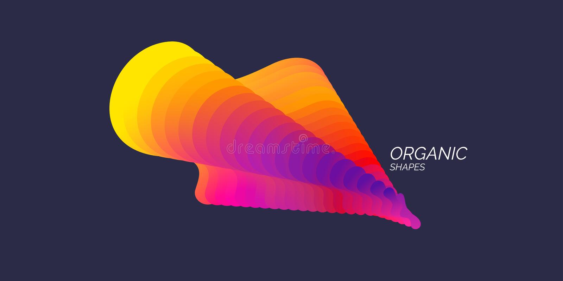 Oggetto astratto luminoso con le onde dinamiche Illustrazione di vettore nello stile minimo illustrazione di stock