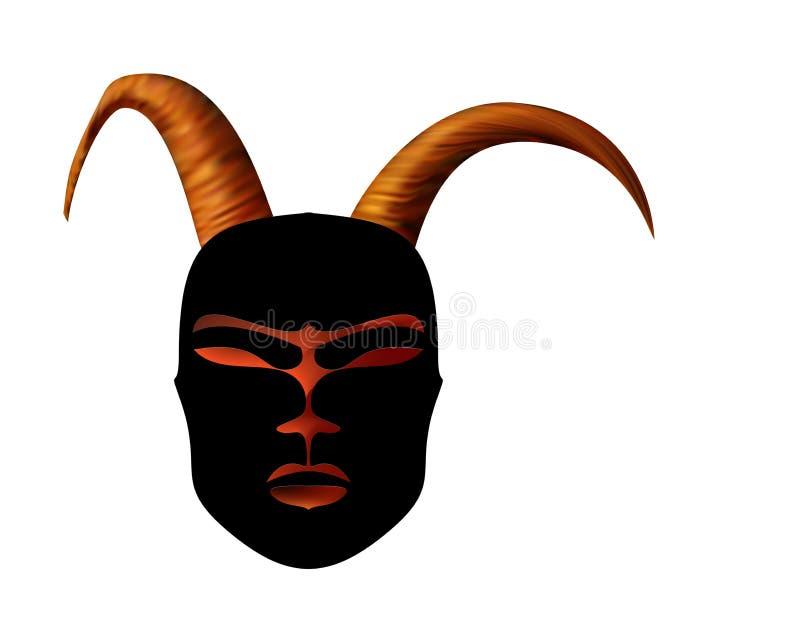 Oggetto d'antiquariato rituale della maschera cornuta nello stile africano Corni dorati royalty illustrazione gratis