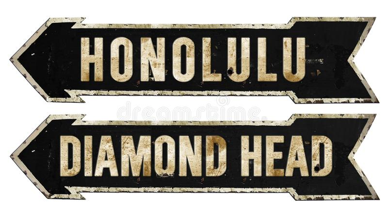 Oggetto d'antiquariato rustico del metallo di Honolulu Diamond Head Hawaii Grunge Vintage vecchio fotografie stock