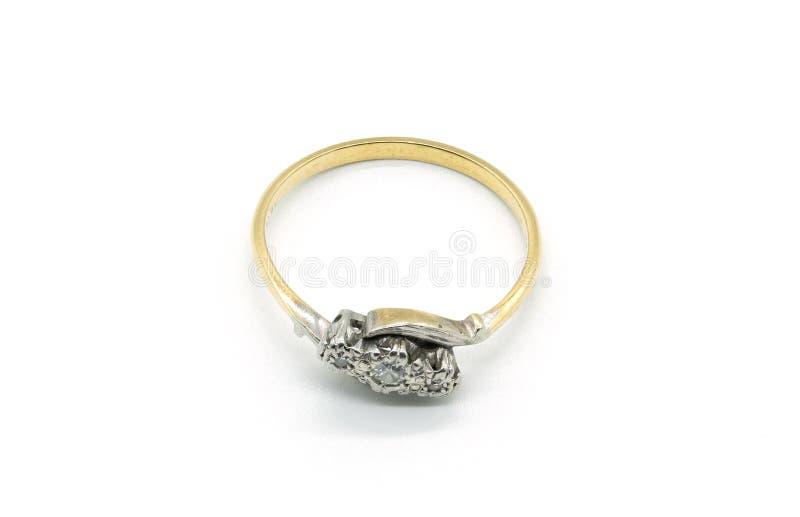 Oggetto d'antiquariato tre Diamond Gold Ring delle signore fotografia stock libera da diritti