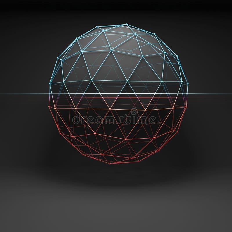 oggetto 3d coperto di maglia della cavo-struttura della grata illustrazione vettoriale