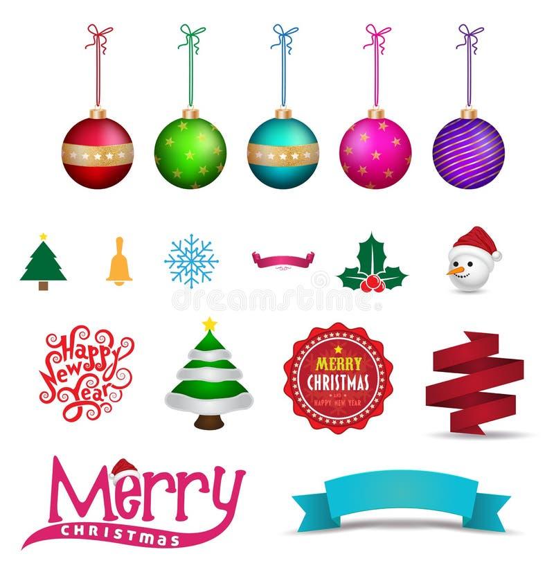 Oggetto dell'elemento di Natale per la cartolina d'auguri illustrazione di stock
