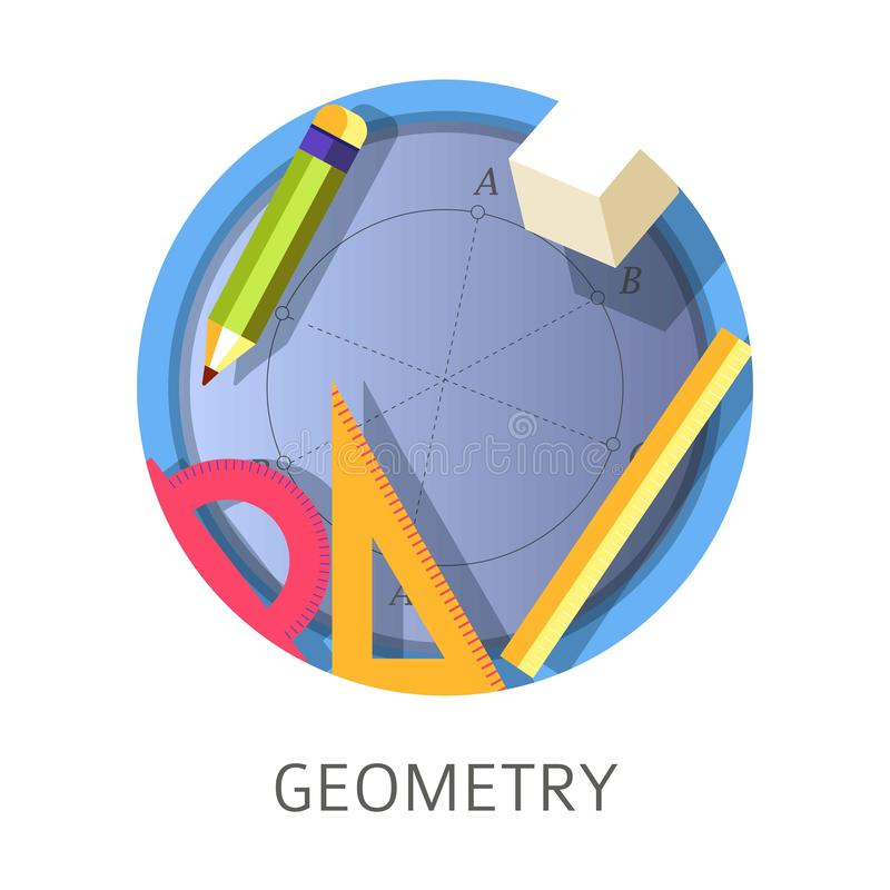 Oggetto della geometria, scuola scientifica e logo di disciplina dell'università illustrazione di stock