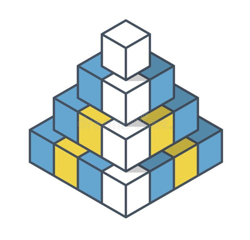 Oggetto descritto nella forma della piramide Forma astratta di vettore del cubo illustrazione vettoriale