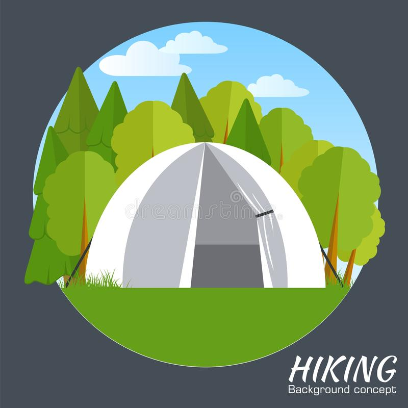 Oggetto di simbolo dell'illustrazione di vettore della tenda Progettazione di massima piana di stile dell'icona illustrazione vettoriale