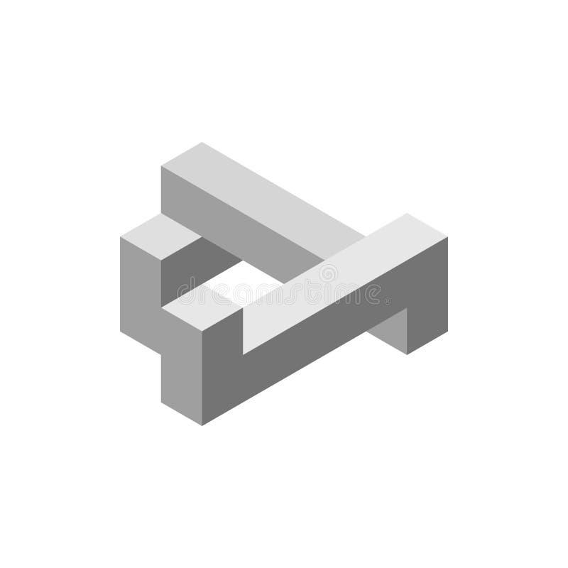 Oggetto impossibile Isolato su bianco illustrazione di vettore 3d Iso illustrazione di stock
