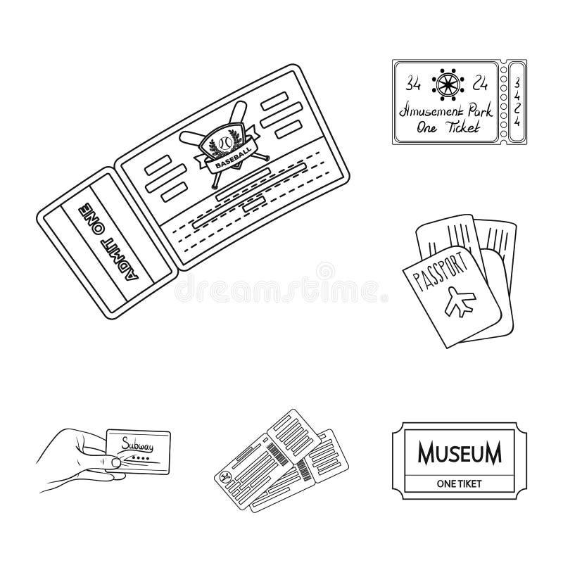 Oggetto isolato del biglietto e del segno di film Raccolta del biglietto e del simbolo di riserva di concerto per il web illustrazione di stock