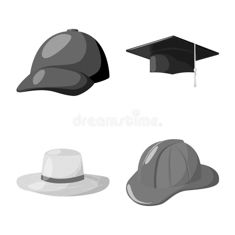 Oggetto isolato del logo del casco e del cappello Raccolta del cappello ed icona di vettore di professione per le azione royalty illustrazione gratis