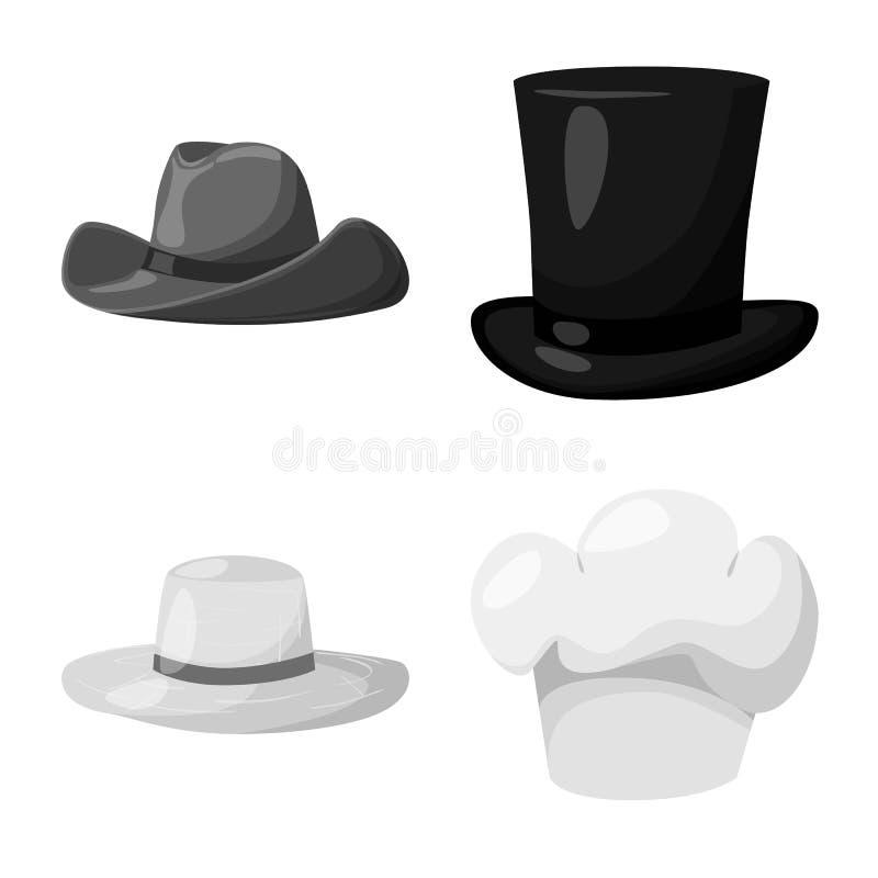Oggetto isolato del logo del casco e del cappello Raccolta del cappello e del simbolo di riserva di professione per il web illustrazione di stock