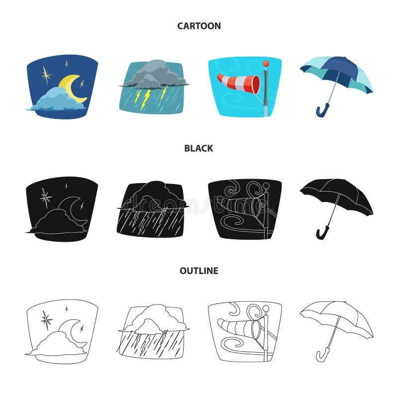 Oggetto isolato del logo di clima e del tempo Insieme dell'icona di vettore della nuvola e del tempo per le azione illustrazione di stock