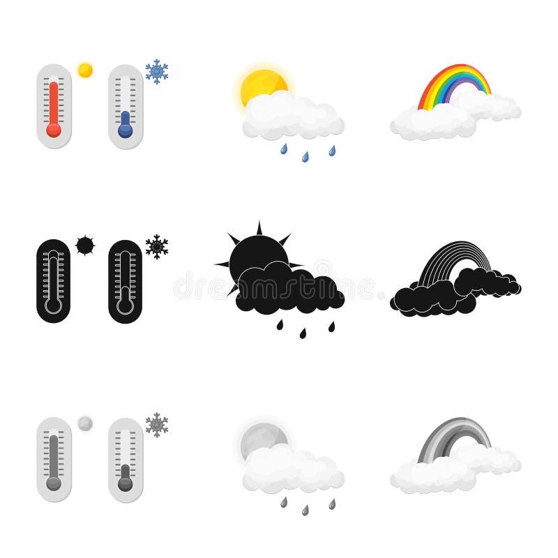 Oggetto isolato del logo di clima e del tempo Raccolta dell'illustrazione di riserva di vettore della nuvola e del tempo illustrazione di stock
