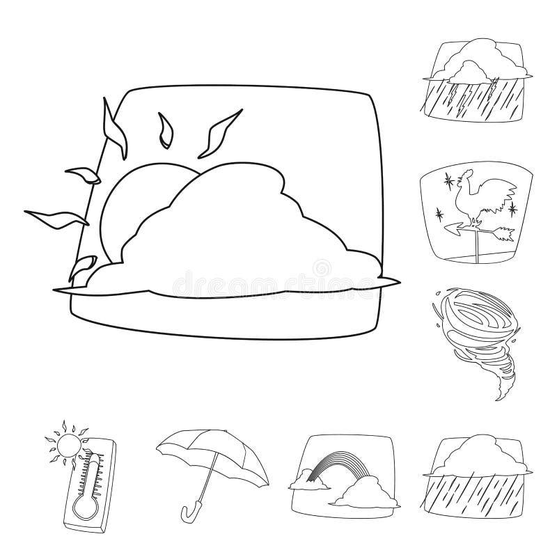 Oggetto isolato del logo di clima e del tempo Raccolta del simbolo di riserva della nuvola e del tempo per il web illustrazione di stock