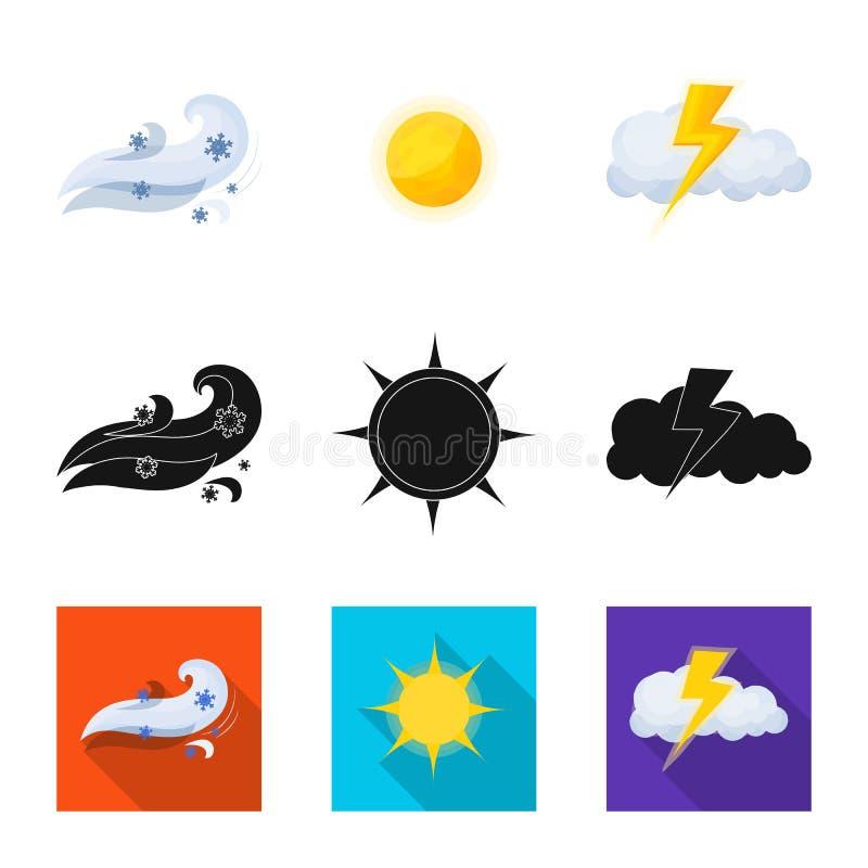 Oggetto isolato del logo di clima e del tempo Raccolta del simbolo di riserva della nuvola e del tempo per il web royalty illustrazione gratis
