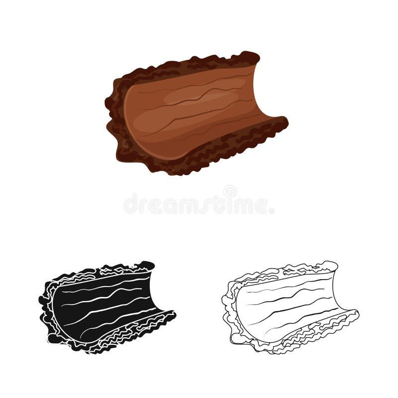 Oggetto isolato del logo del pezzo e della corteccia Metta dell'icona di vettore del legname e della corteccia per le azione illustrazione di stock
