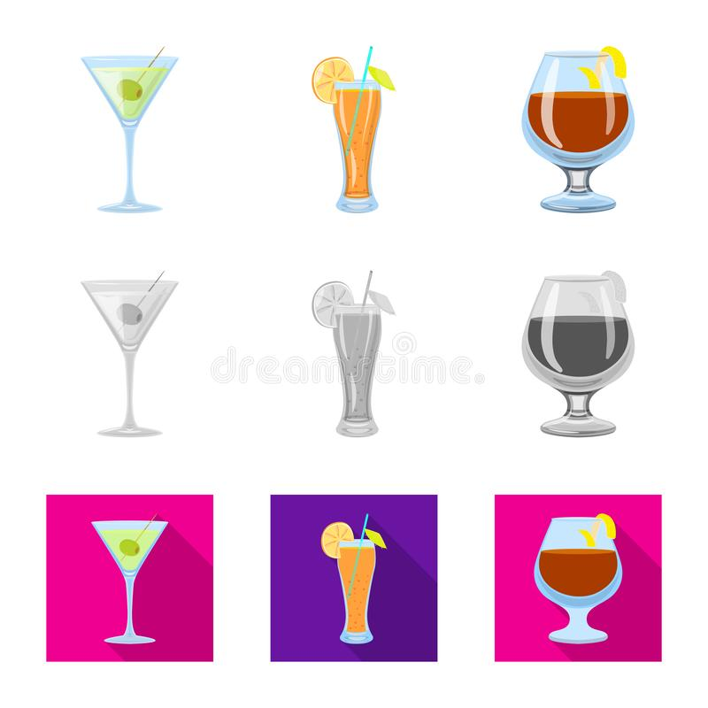 Oggetto isolato del logo del ristorante e del liquore Metta dell'illustrazione di vettore delle azione dell'ingrediente e del liq illustrazione di stock