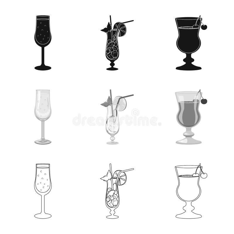 Oggetto isolato del logo del ristorante e del liquore Raccolta dell'icona di vettore dell'ingrediente e del liquore per le azione royalty illustrazione gratis