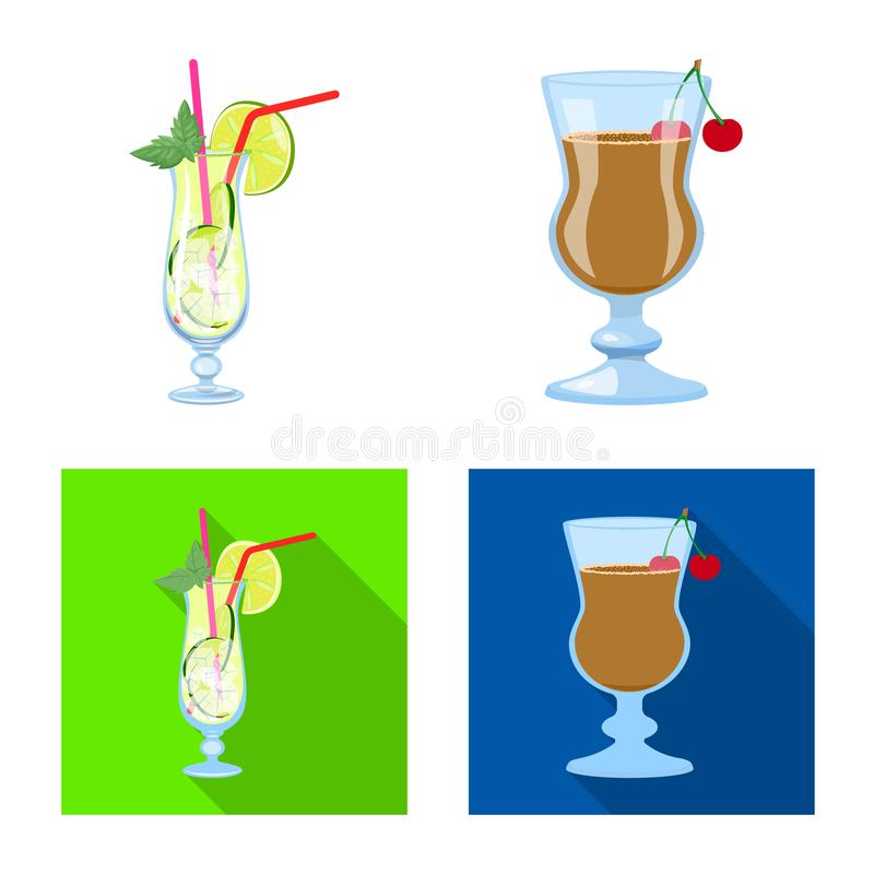 Oggetto isolato del logo del ristorante e del liquore Raccolta del simbolo di riserva dell'ingrediente e del liquore per il web royalty illustrazione gratis
