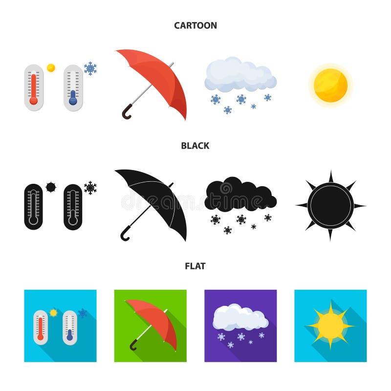 Oggetto isolato del segno di clima e del tempo Insieme dell'illustrazione di riserva di vettore della nuvola e del tempo royalty illustrazione gratis