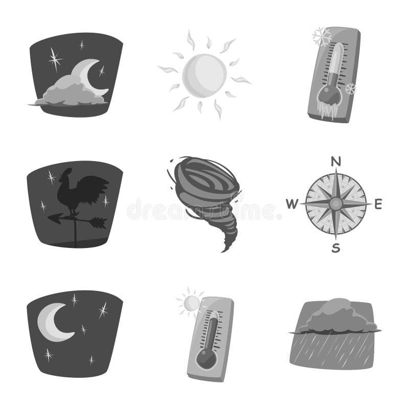 Oggetto isolato del segno di clima e del tempo Insieme del simbolo di riserva della nuvola e del tempo per il web royalty illustrazione gratis