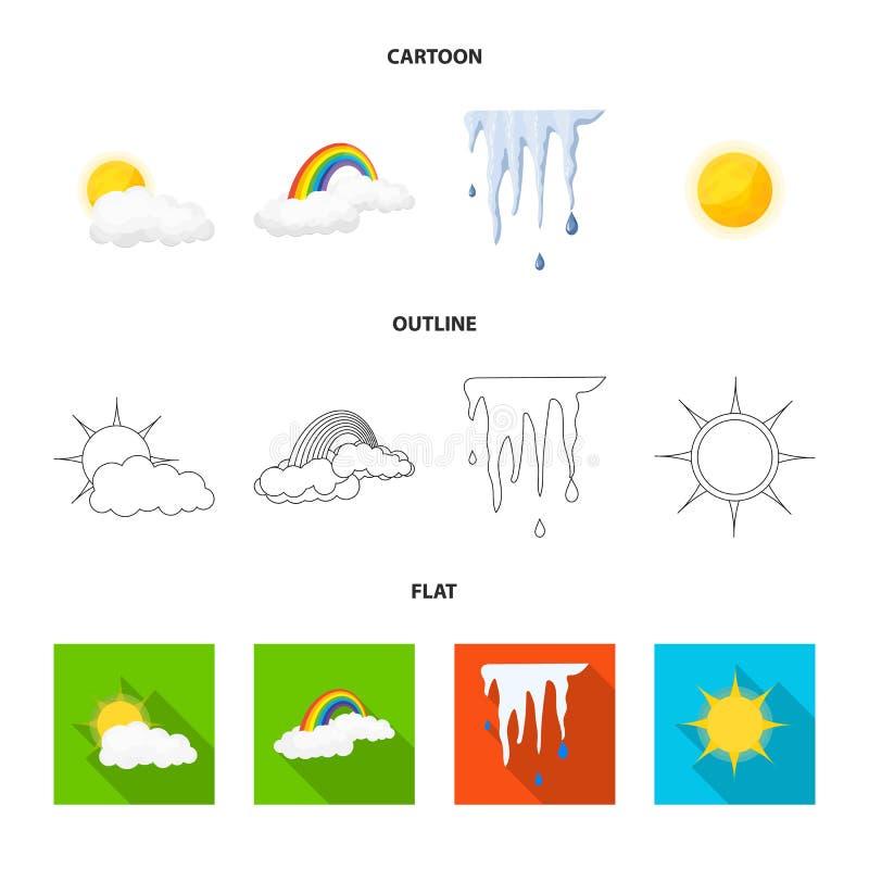 Oggetto isolato del segno di clima e del tempo Raccolta dell'icona di vettore della nuvola e del tempo per le azione illustrazione di stock