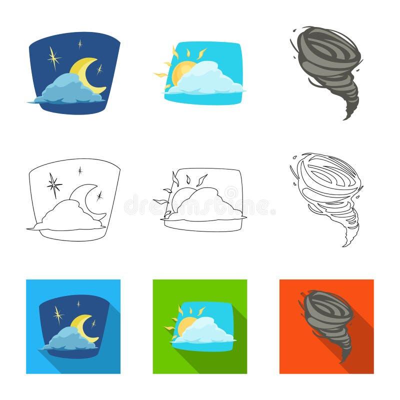Oggetto isolato del segno di clima e del tempo Raccolta dell'illustrazione di riserva di vettore della nuvola e del tempo illustrazione vettoriale