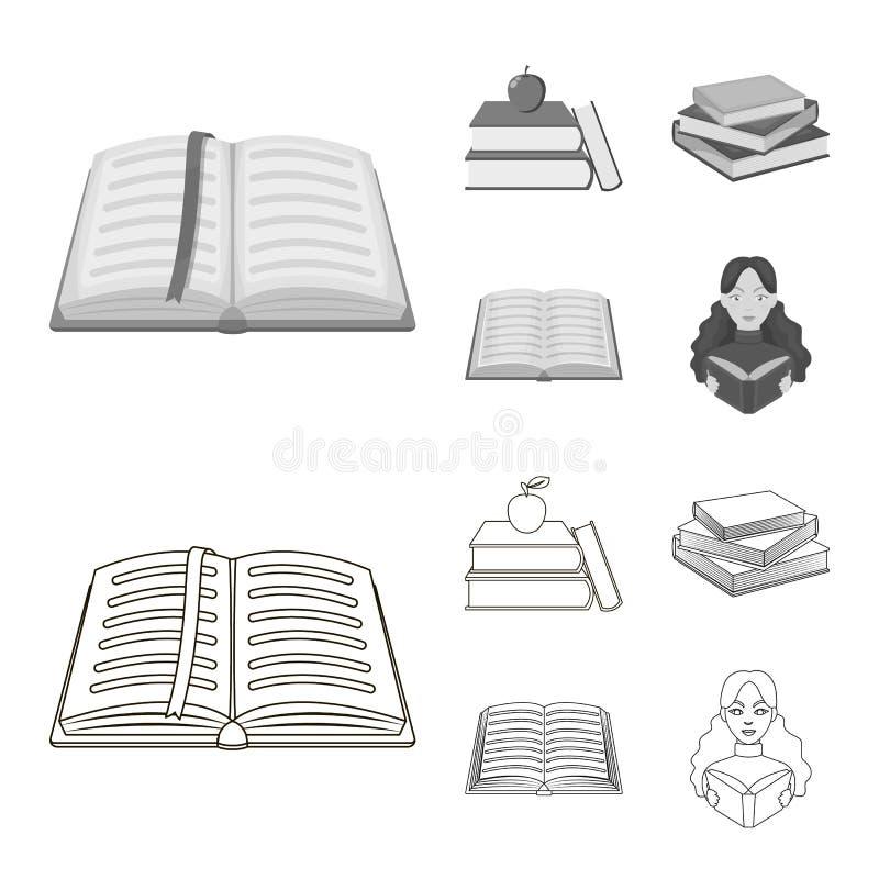 Oggetto isolato del segno del manuale e delle biblioteche Metta dell'icona di vettore della scuola e delle biblioteche per le azi illustrazione vettoriale