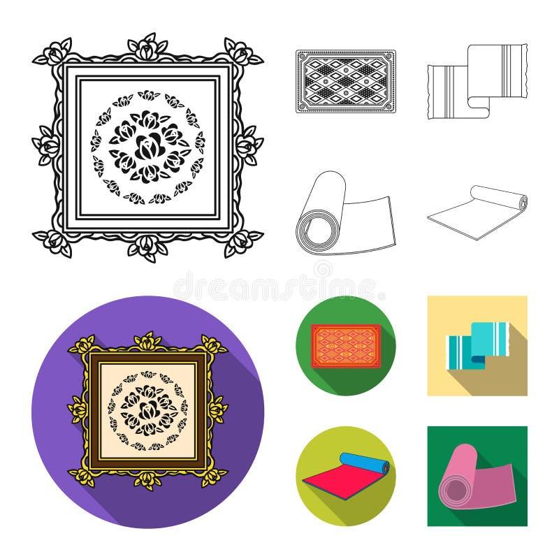 Oggetto isolato del segno del persiano e del tappeto Metta dell'icona di vettore del confine e del tappeto per le azione royalty illustrazione gratis