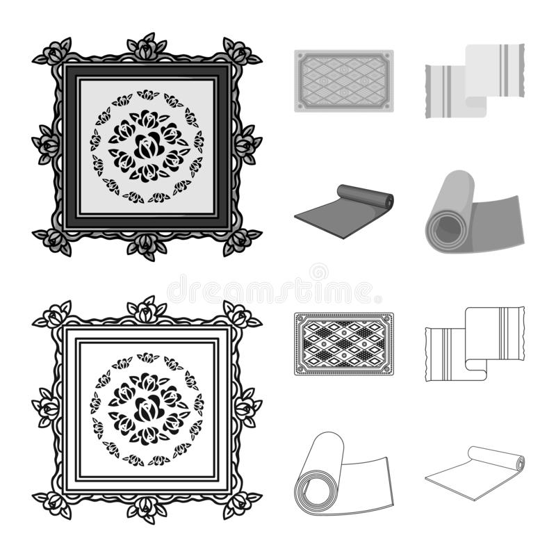 Oggetto isolato del segno del persiano e del tappeto Metta dell'illustrazione di vettore delle azione del confine e del tappeto illustrazione di stock