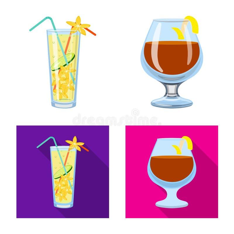 Oggetto isolato del segno del ristorante e del liquore Metta del simbolo di riserva dell'ingrediente e del liquore per il web illustrazione di stock