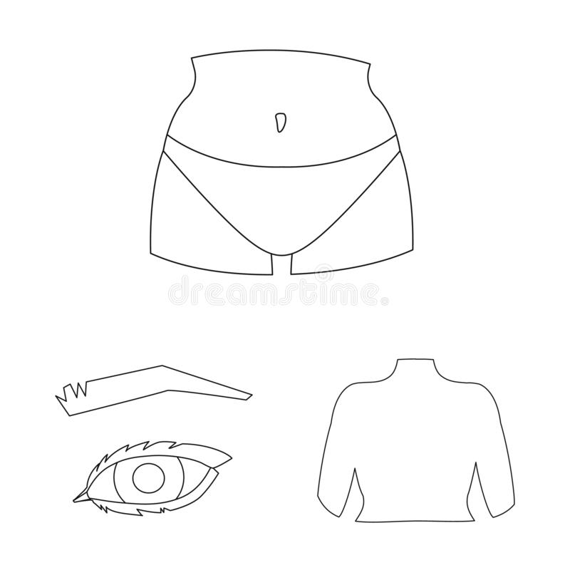 Oggetto isolato del simbolo della parte e del corpo Raccolta del simbolo di riserva di anatomia e del corpo per il web illustrazione vettoriale