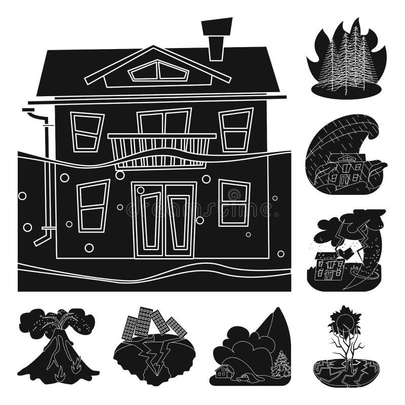 Oggetto isolato del simbolo di arresto e di calamità Metta dell'illustrazione di vettore delle azione di disastro e di calamità illustrazione di stock