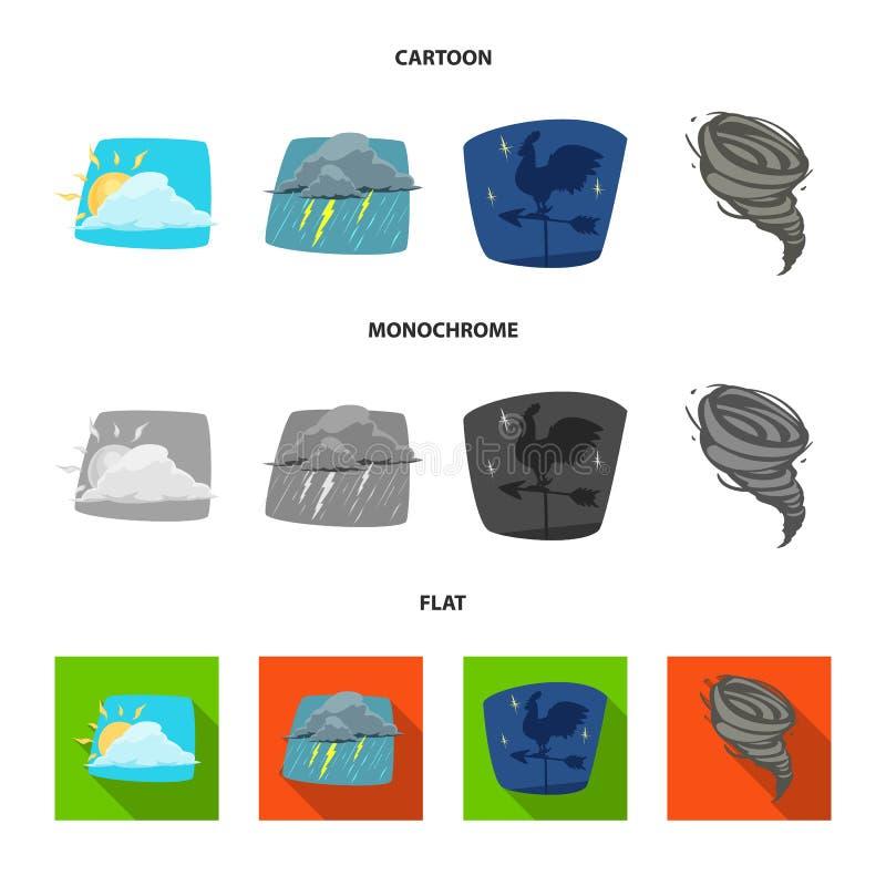 Oggetto isolato del simbolo di clima e del tempo Insieme dell'icona di vettore della nuvola e del tempo per le azione illustrazione vettoriale