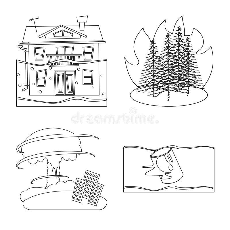 Oggetto isolato del simbolo di disastro e di cataclisma Metta dell'illustrazione di vettore delle azione di apocalisse e di catac illustrazione vettoriale
