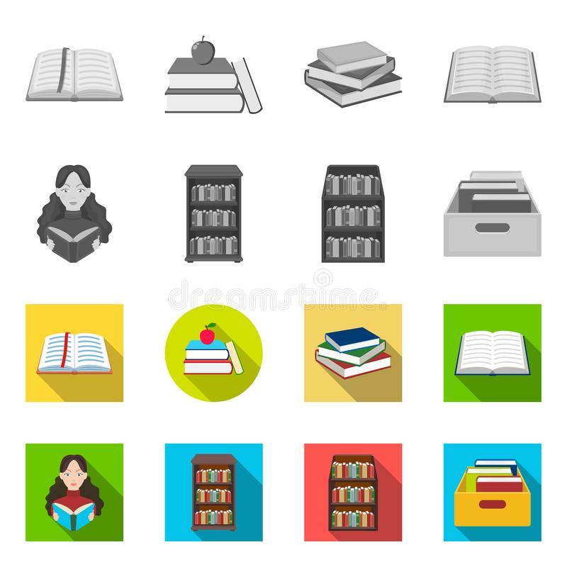 Oggetto isolato del simbolo del manuale e delle biblioteche Metta dell'icona di vettore della scuola e delle biblioteche per le a illustrazione vettoriale