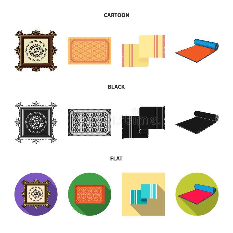Oggetto isolato del simbolo del persiano e del tappeto Raccolta dell'icona di vettore del confine e del tappeto per le azione royalty illustrazione gratis
