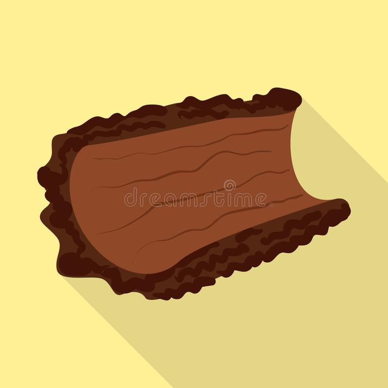 Oggetto isolato del simbolo del pezzo e della corteccia Raccolta dell'icona di vettore del legname e della corteccia per le azion illustrazione vettoriale